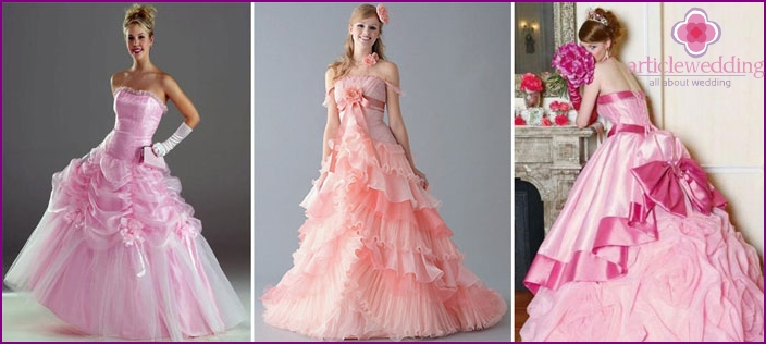 Pink tone of the bride dresses