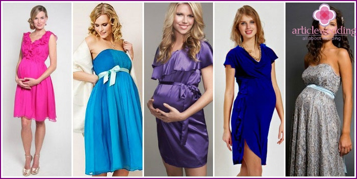 Elegant dresses for pregnant women at the wedding