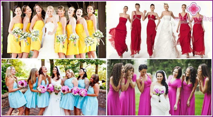The same elegant attire for bridesmaids