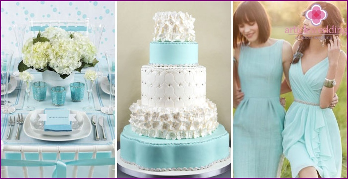 Turquoise and white color in the wedding image