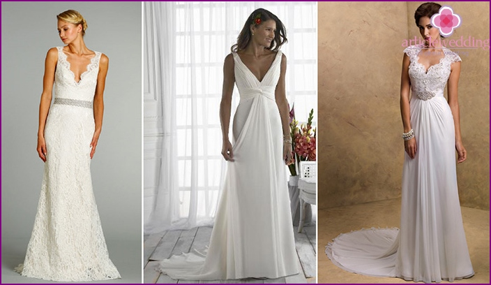 Simple wedding dress with a low neckline
