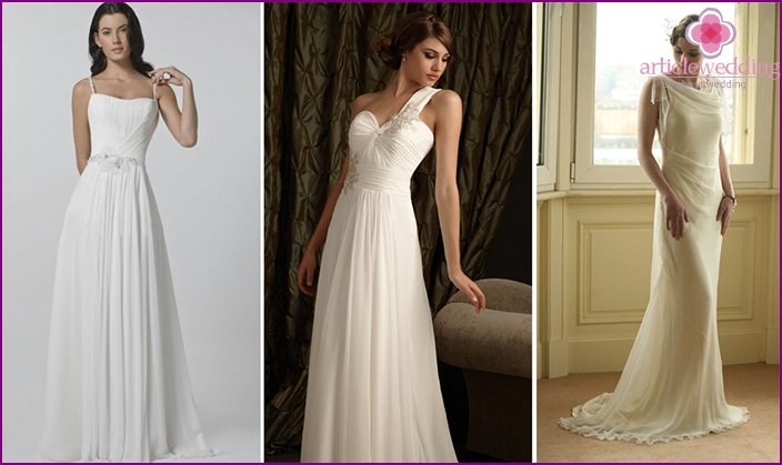 Vintage Chiffon wedding dress simple cut