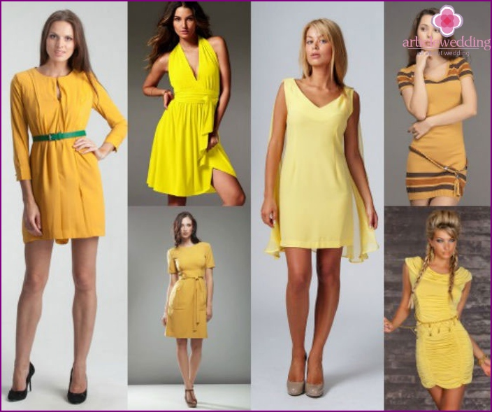 Yellow dress - an excellent choice for guests wedding day