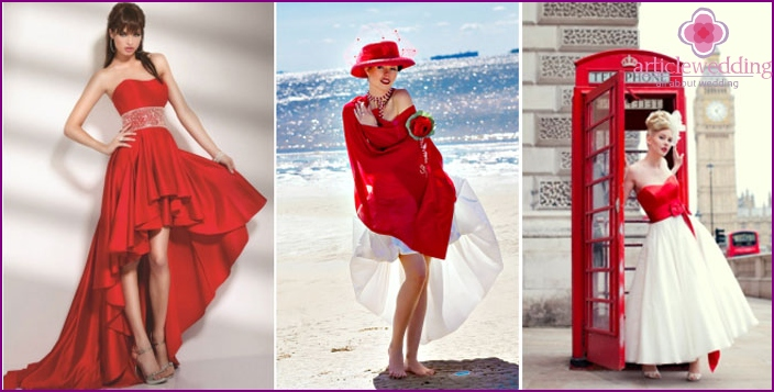 Examples of short-length red dress