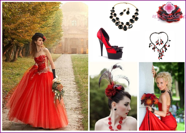 Black and red bride's accessories