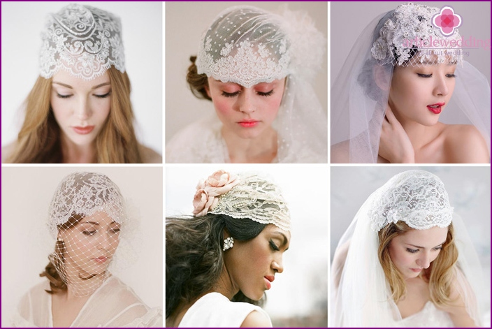 Lacy feminine hat for the bride