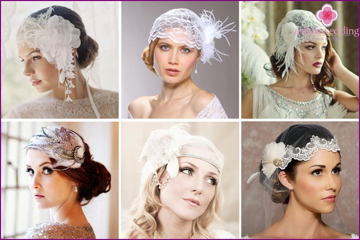 The feathers in the headdress of the bride