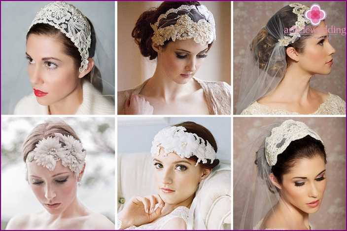 Bridal cap in the form of a hoop for the bride