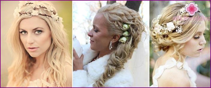Options for hairstyles for wedding wreath