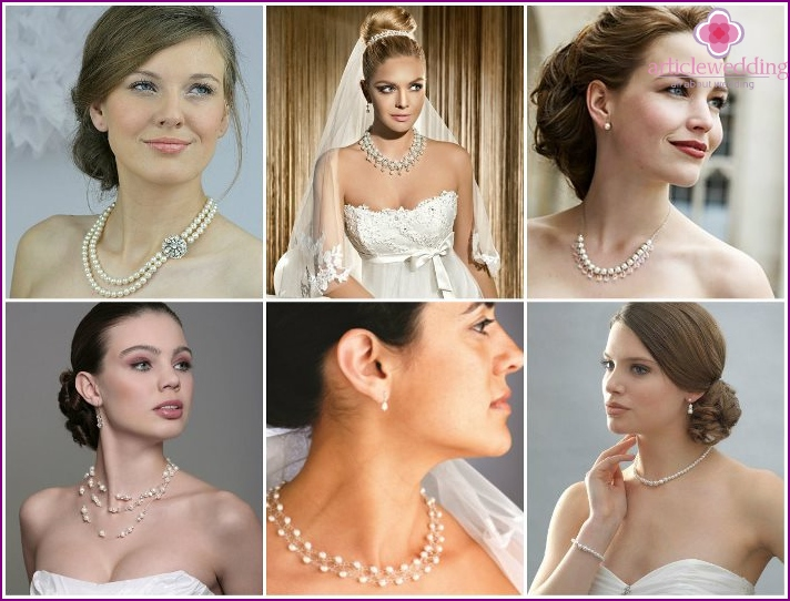 Pearl necklace for the bride