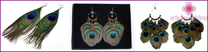Decorated earrings bride