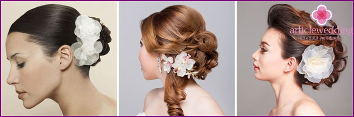 Floral crest emphasize the image of the bride