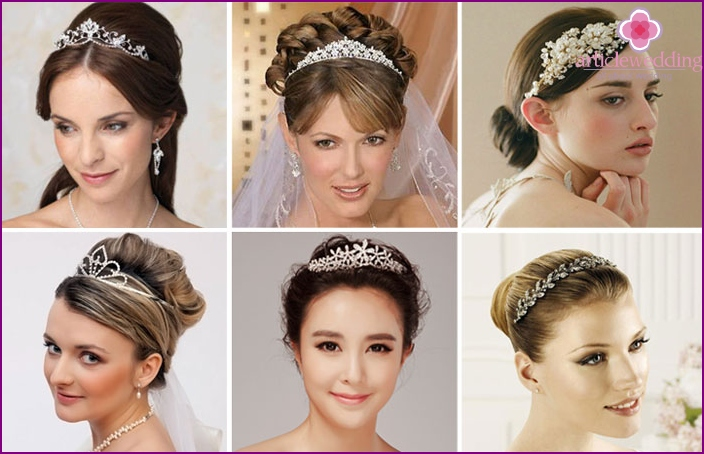 Tiara with stones and rhinestones for wedding