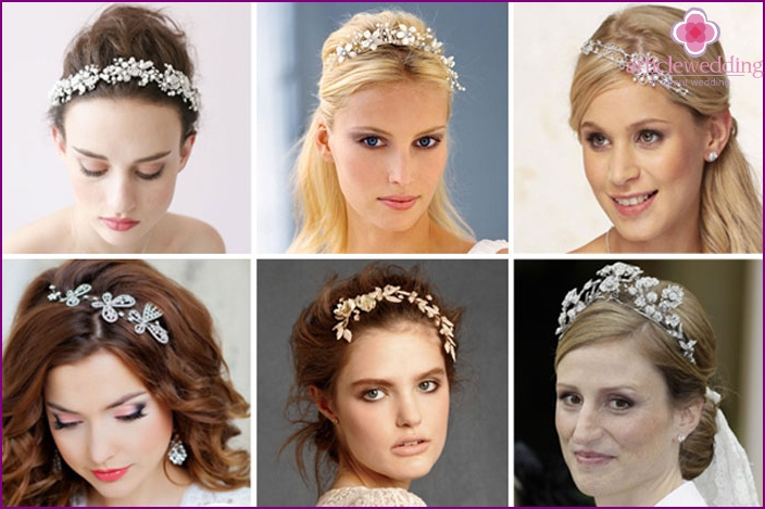 Wedding tiara with butterflies, flowers