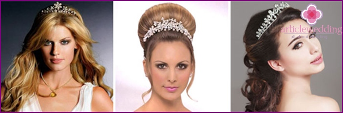 Bridal hairstyles with tiara and tiara