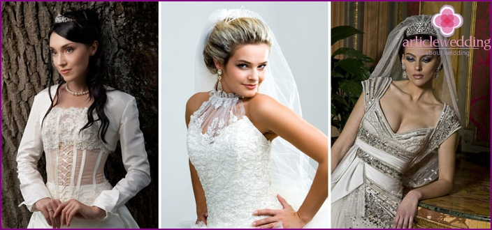 Wedding dresses and tiaras
