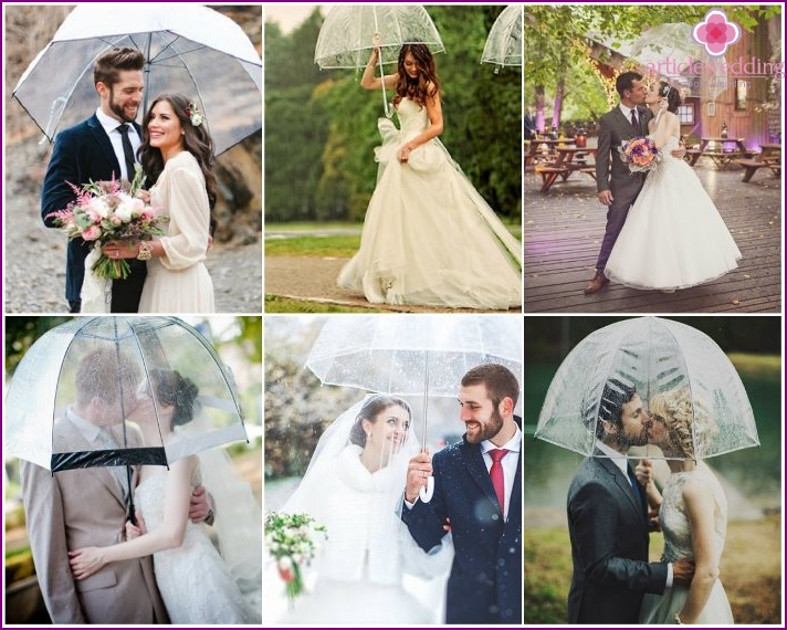 Transparent umbrella weather for a wedding