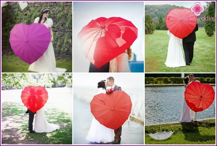 Wedding umbrella in the form of heart