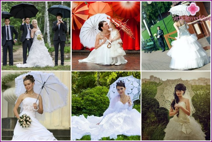 How to combine a wedding dress with an umbrella