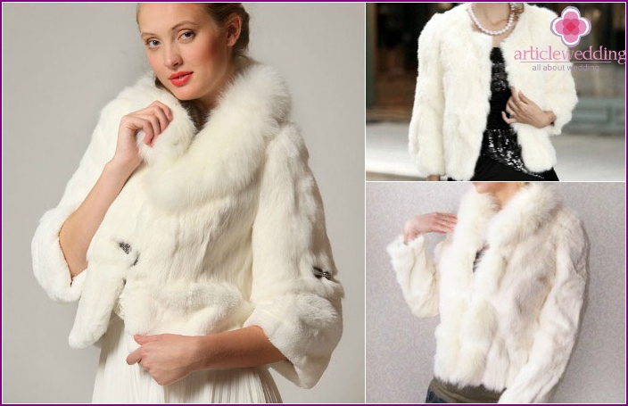 Beautiful rabbit fur coat for the wedding