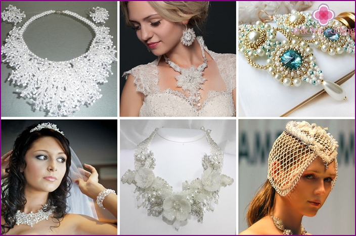 Beaded wedding jewelry for the bride