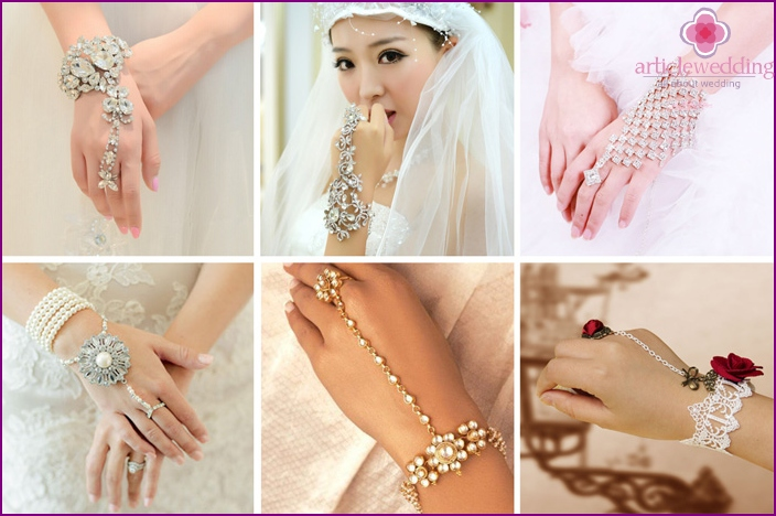 Bracelets with a ring for the bride