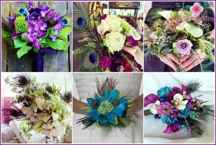 Wedding floral arrangements with peacock feathers