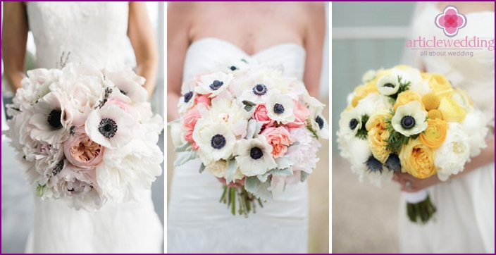 Attribute for the bride: a combination of anemone with peonies