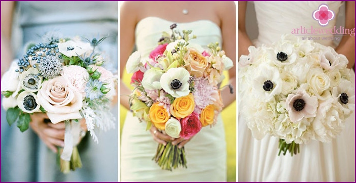 Bouquet for young: anemones with roses