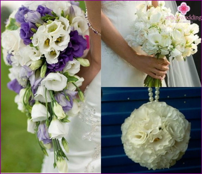 Forms of wedding bouquets with eustoma