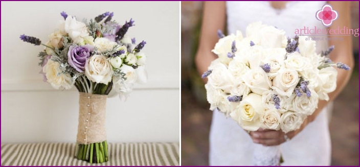 Lavender bouquet with orchids - a beautiful creation