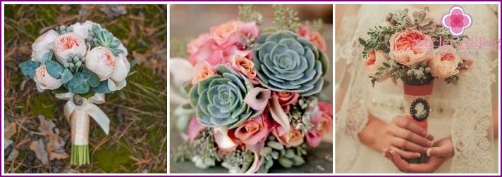 The compositions of succulents and roses for the bride