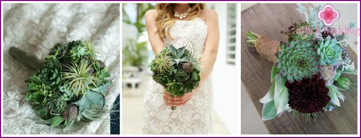 Assorted succulents wedding bride composition