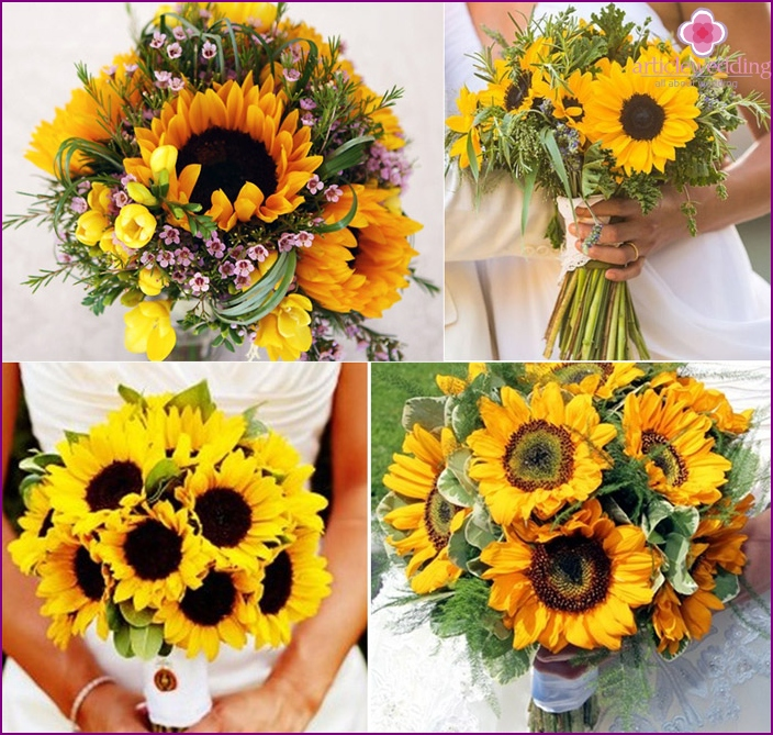 Sunflowers in a wedding arrangement
