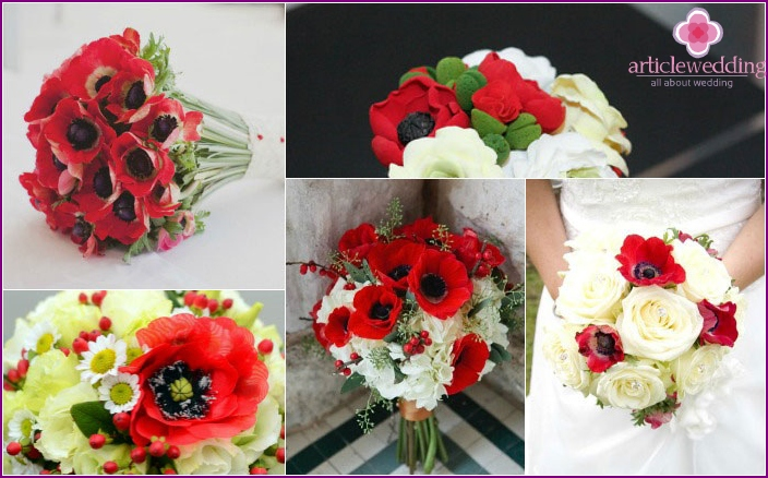 Bright poppies for floral compositions bride