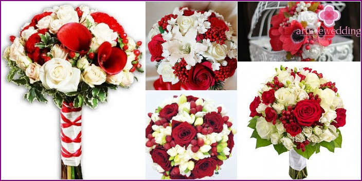 Floral wedding bouquets, compositions with berries
