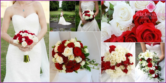 Bouquet-composition of two shades of roses for bride