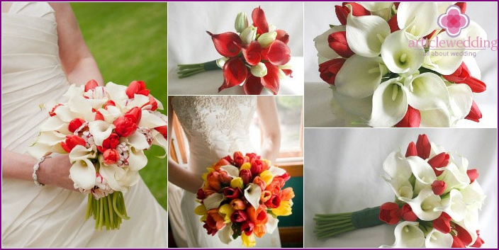 The combination of a bouquet of calla lilies bride with tulips