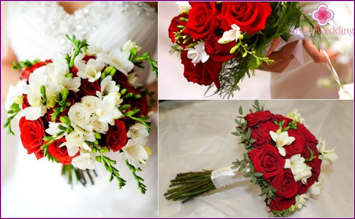 Roses with freesias composition for the bride