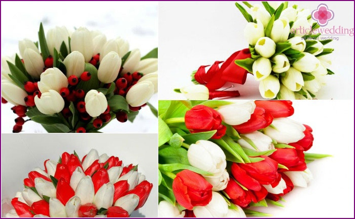 Tulips in a bouquet of the bride