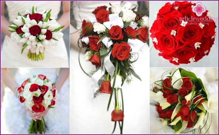 Red and white bouquets for future spouses