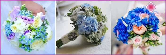 Bouquet of the bride: ensembles with hydrangea