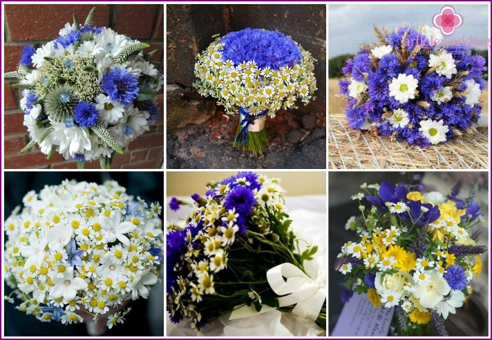 Cornflowers with daisies in a bouquet of the bride