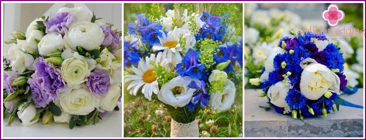 Bouquet of cornflowers and eustomy for the bride
