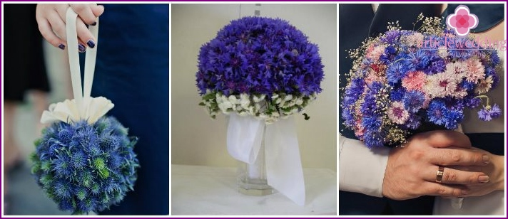 Cornflower bouquet at wedding