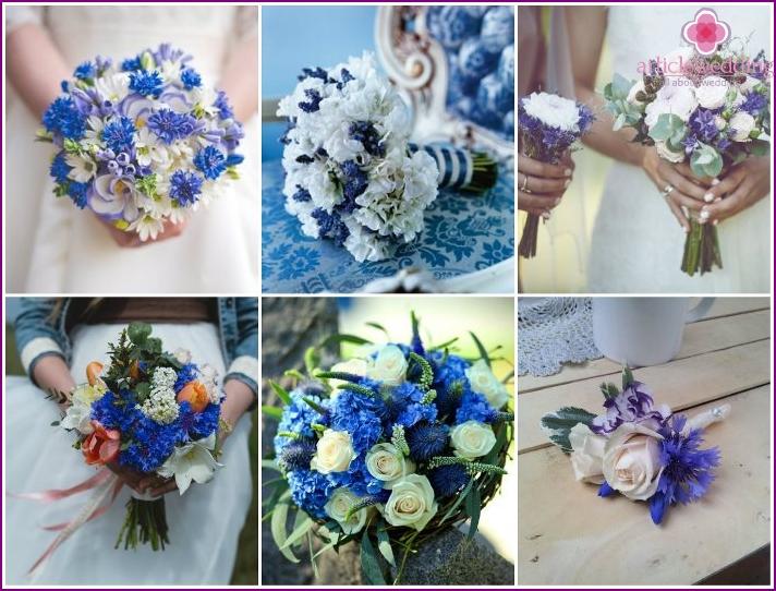 Field cornflowers in a flower accessory bride