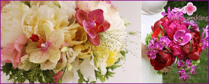 Peony bouquet with orchids