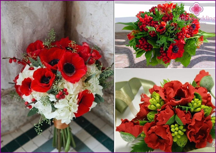 Red poppies in a wedding bouquet