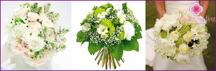The combination of chrysanthemums and freesias for the bride