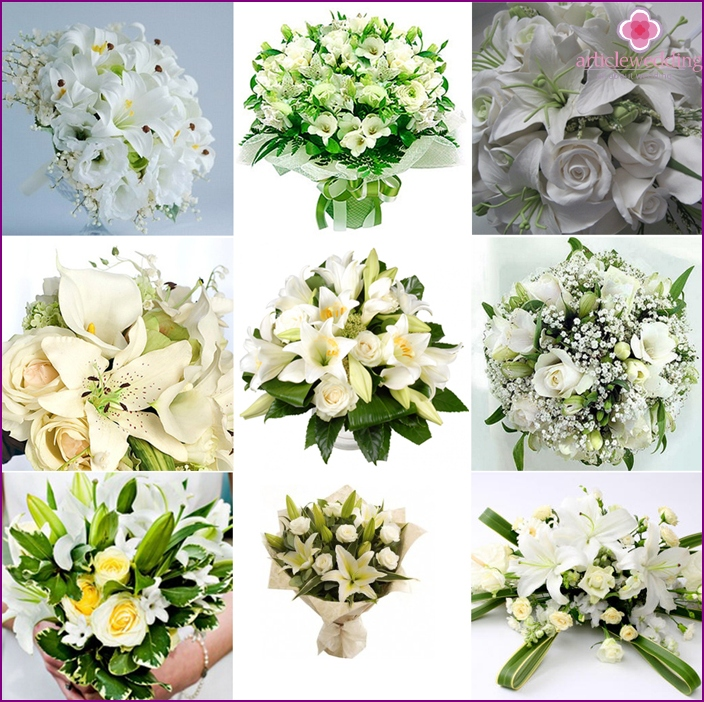 White roses, lilies, sprigs of greenery for the bride